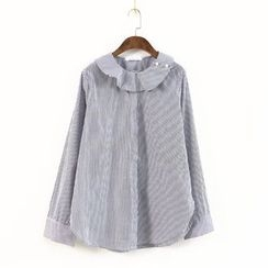 Ranche - Ruffle Trim Striped Blouse