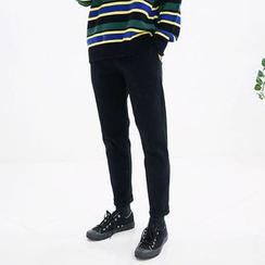 Seoul Homme - Band-Waist Brushed-Fleece Lined Pants