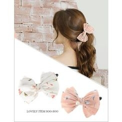 soo n soo - Floral Pattern Ribbon Hair Clamp