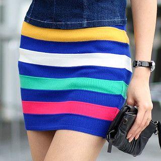 59 Seconds - Striped Knit Skirt