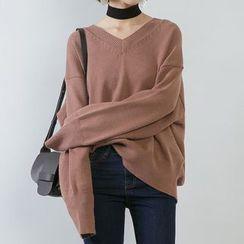 Heynew - 纯色V领毛衣