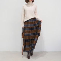 WITH IPUN - Elastic-Waist Tiered Skirt