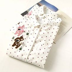 Ranche - Deer Embroidered Polka Dot Shirt