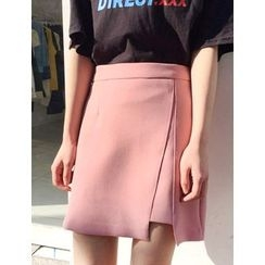 FROMBEGINNING - Cutout-Hem A-Line Mini Skirt