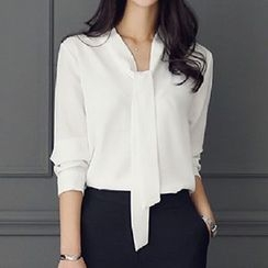 Fashion Street - Tie Neck Long-Sleeve Blouse
