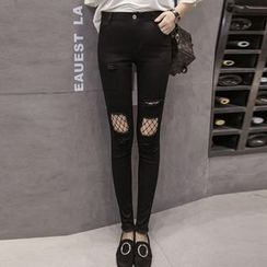 Queen Bee - Distressed Fishnet Panel Jeans