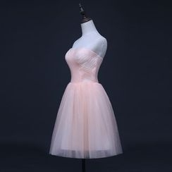 Gracia - Strapless Tulle Mini Prom Dress