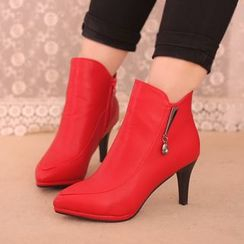 IYATO - Pointy-Toe Kitten-Heel Ankle Boots