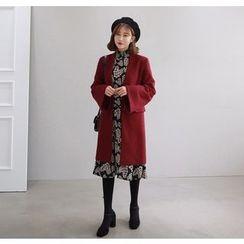 Miamasvin - Collarless Wool Blend Coat