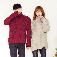 TOMONARI - Couple Turtle-Neck Cable-Knit Sweater