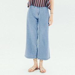 chuu - Washed Wide-Leg Jeans