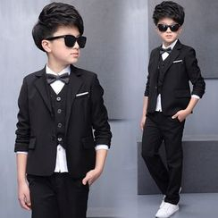 Pegasus - Kids Set : Plain Blazer + Pants + Vest + Shirt + Bow Tie