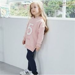 LILIPURRI - Kids Set: Hooded Lettering Pullover + Brushed Fleece Lined Leggings
