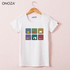 Onoza - 六色方格可愛卡通印花 T 恤
