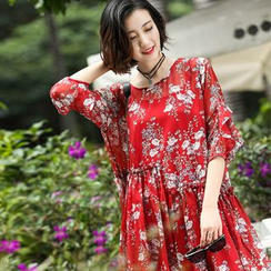 Queen Mulock - Loose-Fit Floral Chiffon Dress
