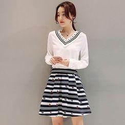 Maine - 套装:雪纺上衣 + 打褶裥裙