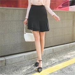 ode' - Layered Frill-Hem Mini Skirt