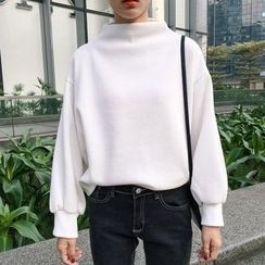 Melon Juice - Puff-Sleeve Mock Neck Pullover