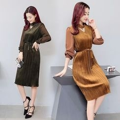 AiSun - V-neck Knit Panel Dress