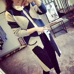 FR - Two-Tone Open Front Long Cardigan