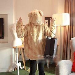 Fluff Snowy - Faux-Fur Hooded Jacket