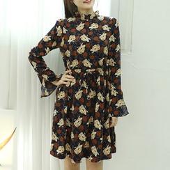 Dodostyle - Floral Patterned Frilled-Neck Drawstring-Waist Dress