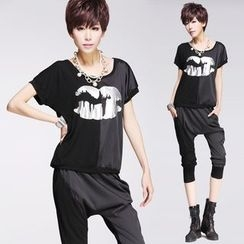 Shawale - Set: Printed T-Shirt + Harem Pants