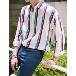 STYLEMAN - Long-Sleeve Color-Block Striped T-Shirt
