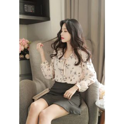 MyFiona - Tie-Neck Floral Print Chiffon Blouse