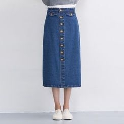 Yohana - Buttoned Denim Midi Skirt