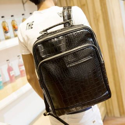 Yiku - Faux Croc Grain Leather Backpack