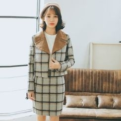 Everies - Set: Woolen Plaid Jacket + Skirt
