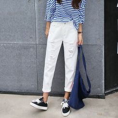Denimot - Ripped Cropped Jeans