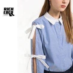 Richcoco - 長袖蝴蝶結飾條紋襯衣