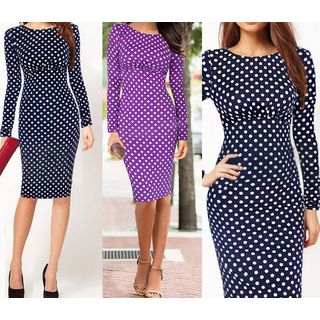Forest Of Darama - Long-Sleeve Dotted Sheath Dress