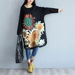 Dream Girl - Flower Print Long Sleeve Midi T-Shirt Dress