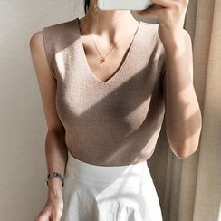UPTOWNHOLIC - V-Neck Sleeveless Knit Top