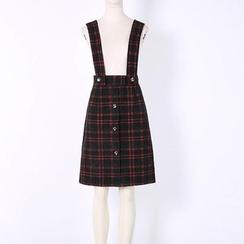 V-MAY - 格纹A字背带短裙