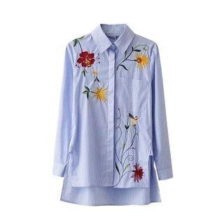 ninna nanna - Floral Embroidered Long Shirt
