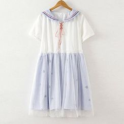 ninna nanna - Lace Up Sailor Collar Striped Mesh Trim Short Sleeve Dress