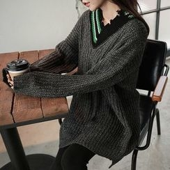 Seoul Fashion - Contrast-Trim Neck Distressed Sweater