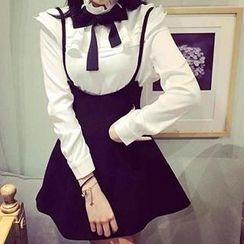 GOGO Girl - Set: Ruffle Blouse + Suspender Skirt