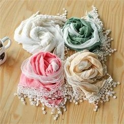 Styleberry - Lace-Trim Cotton Scarf