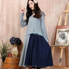 Blue Hat - 毛絨棉拼接兩件套連衣裙