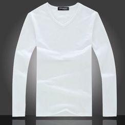 JIBOVILLE - Plain V-neck Long-Sleeve T-shirt