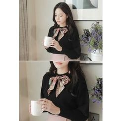 MyFiona - Inset Scarf Puff-Sleeve Knit Top