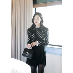 MyFiona - Lace Layered-Edge Polka-Dot Top