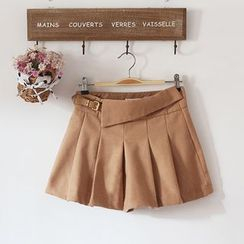 akigogo - Woolen Pleated Skort