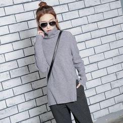 Sonne - 长袖开叉高领毛衣
