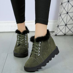One100 - Platform Hidden-Heel Lace-Up Ankle Boots